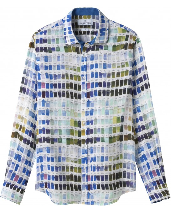 ROSS - Pantone's colors-print linen shirt white