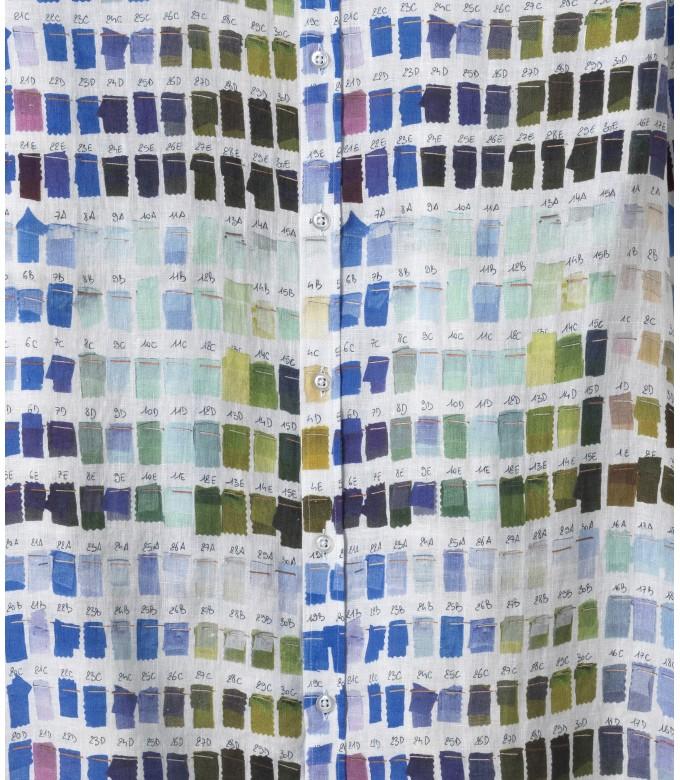 ROSS - Chemise en lin homme regular à imprimé couleurs pantones blanche