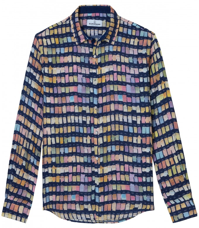 ROSS - Chemise en lin homme regular à imprimé couleurs pantones marine