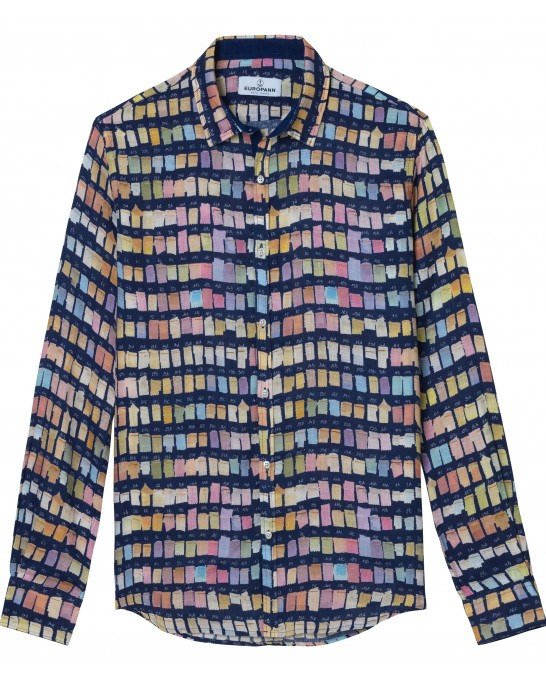 ROSS - Pantone's colors-print linen shirt navy