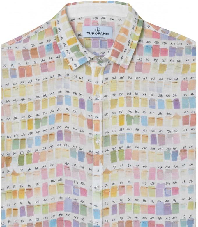 ROSS - Chemise en lin homme regular à imprimé couleurs pantones pastel