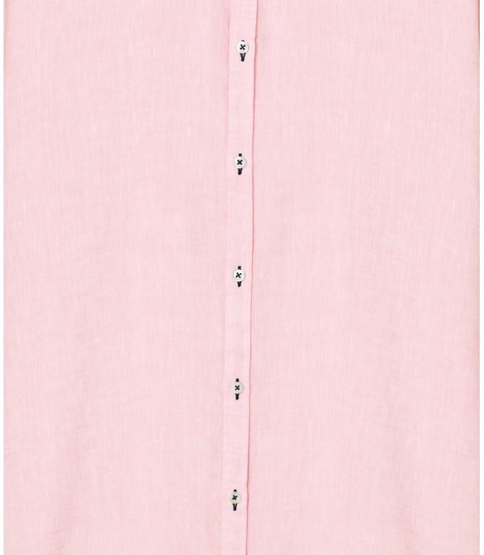 JONAS - Chemise unie lin chiné, rose