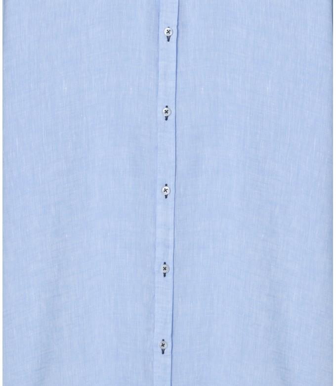 JONAS - Chemise unie lin chiné, ciel