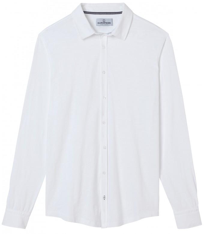STUART - Chemise en coton fin uni slim-fit, blanc