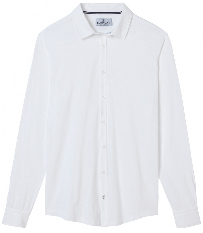 STUART - Thin cotton shirt, white