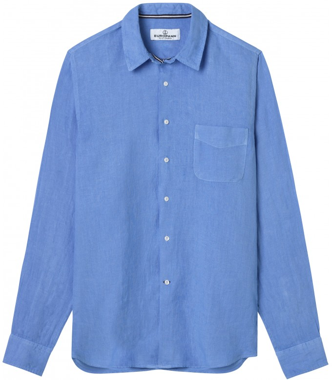 PLAIN LINEN SHIRT DIVA OCEAN BLUE