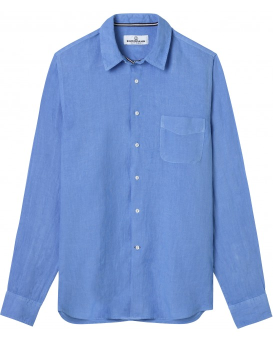 DIVA - Plain linen shirt sky blue