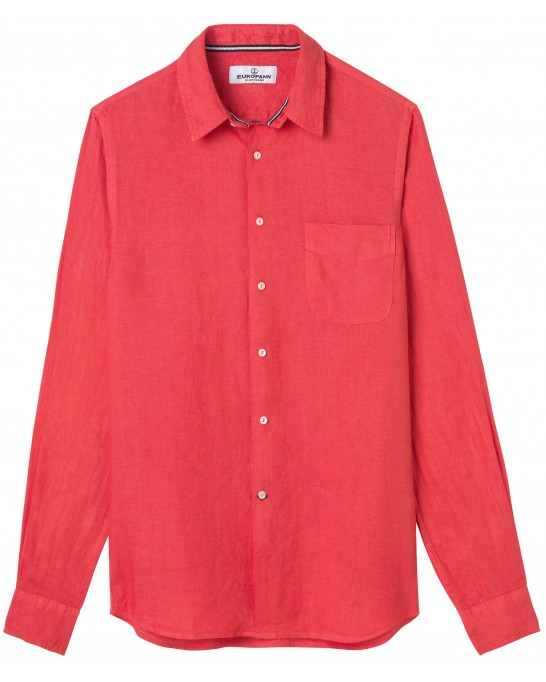 DIVA - Casual linen shirt, red