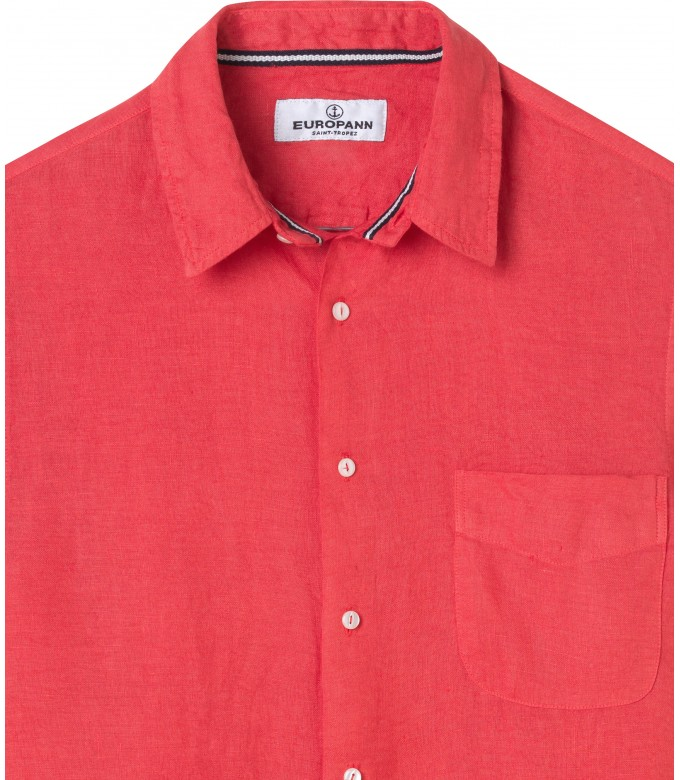 PLAIN LINEN SHIRT DIVA RED