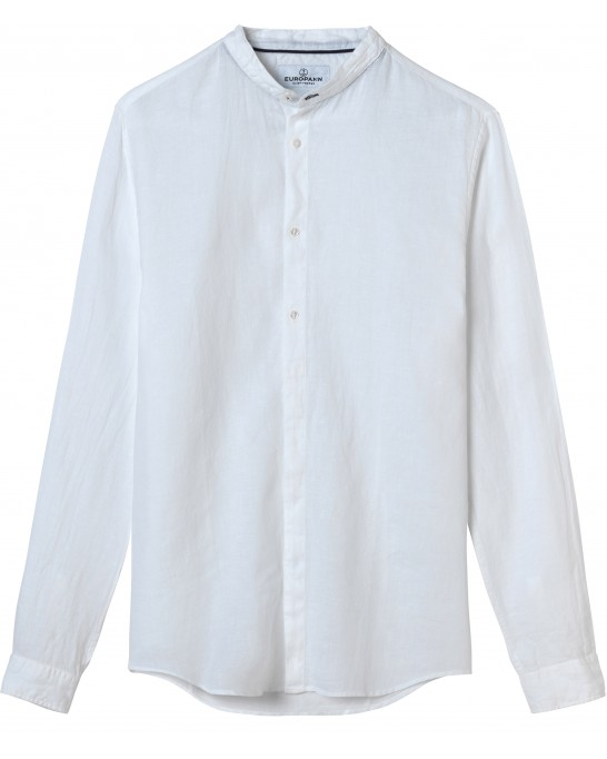 STAN - Linen decontract shirt mao collar, white