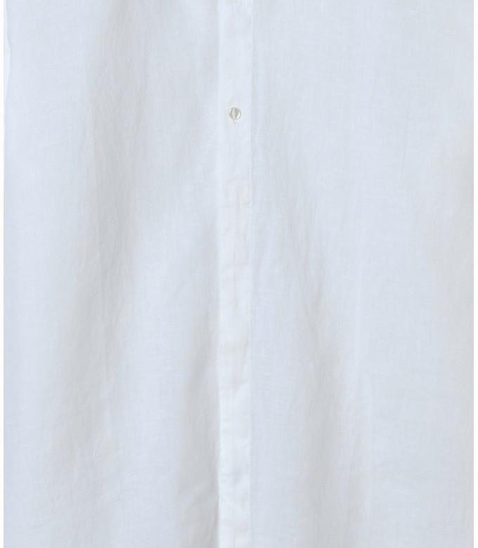 STAN - Chemise décontractée en lin col mao, blanche