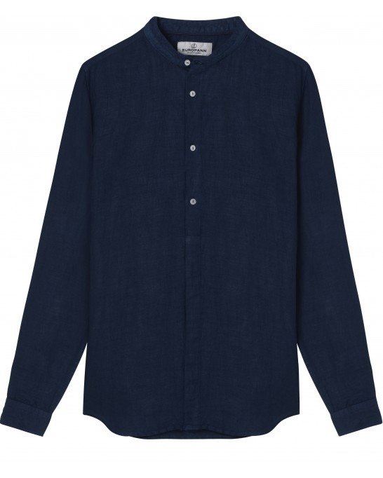 STAN - Linen decontract shirt Mao collar, ink color