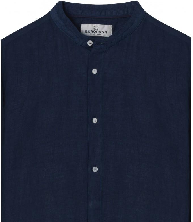 STAN - Linen decontract shirt Mao collar, ink color