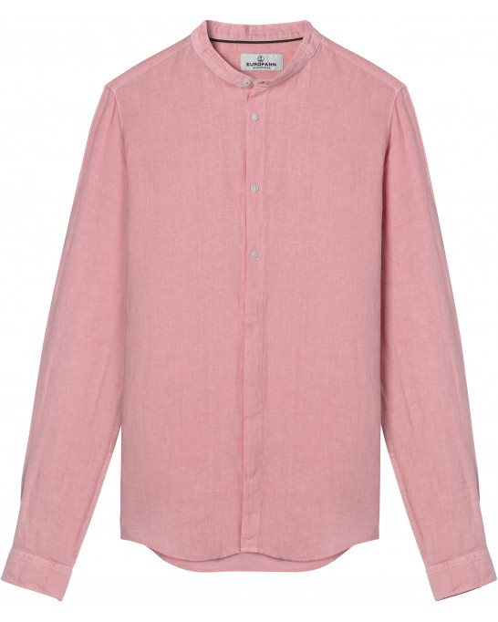 STAN - Linen decontract shirt Mao collar, pink