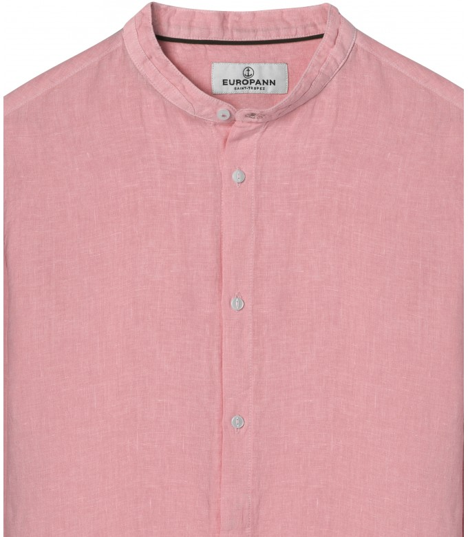 LINEN SHIRT MAO COLLAR STAN PINK