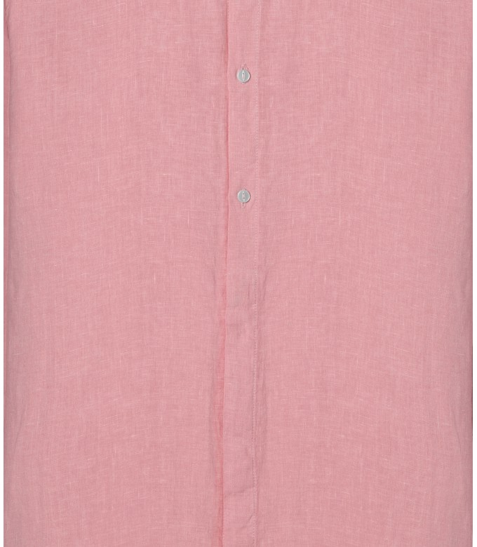 STAN - Chemise décontractée en lin col mao, rose