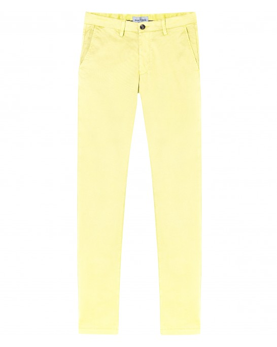 STRETCH-COTTON YELLOW CHINO PANTS FLASH