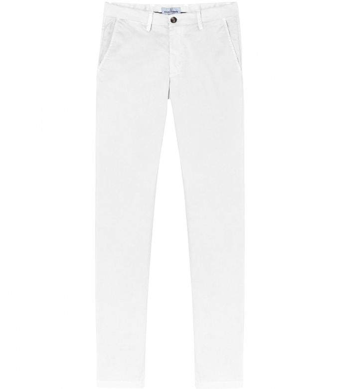 FLASH - Slim fit cotton chinos, white