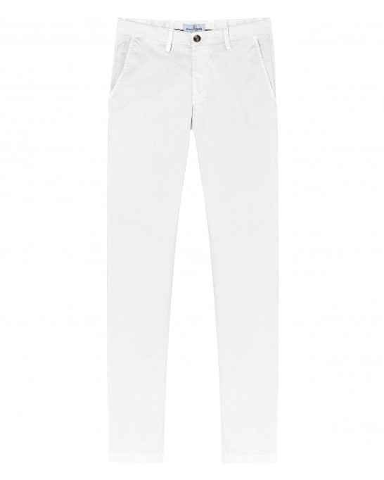 FLASH - Pantalon chino slim, blanc