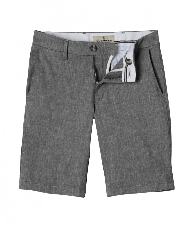TURNER -  Slim fit linen-blend bermudas, dark grey