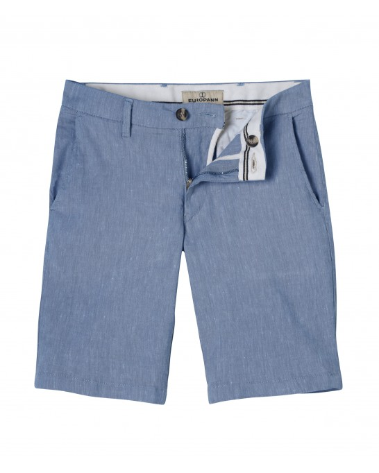 SKY BLUE SLIM FIT LINEN-BLEND BERMUDAS TURNER