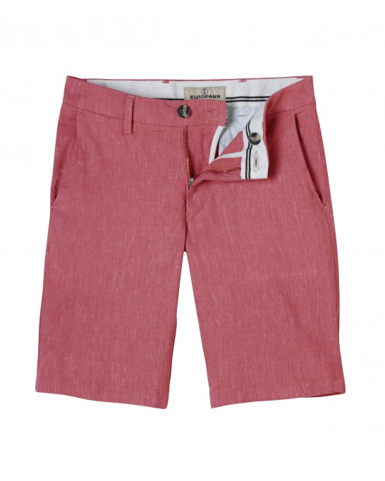 RED SLIM FIT LINEN-BLEND BERMUDAS TURNER