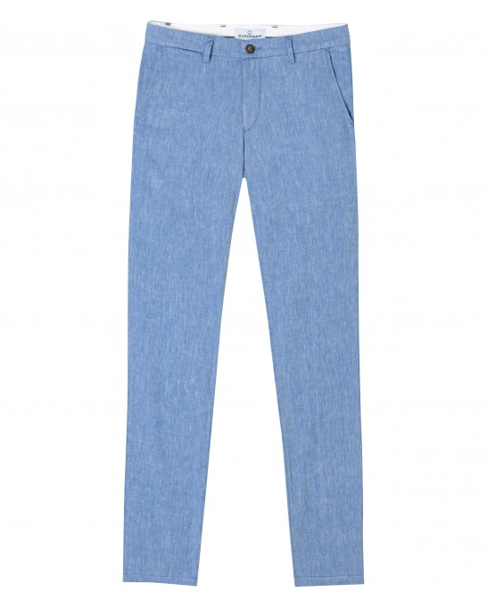 GORDON -  Blue linen chino pant