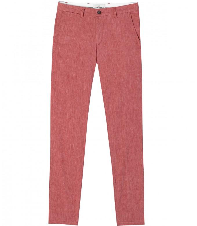 GORDON - Pantalon regular lin chiné rouge