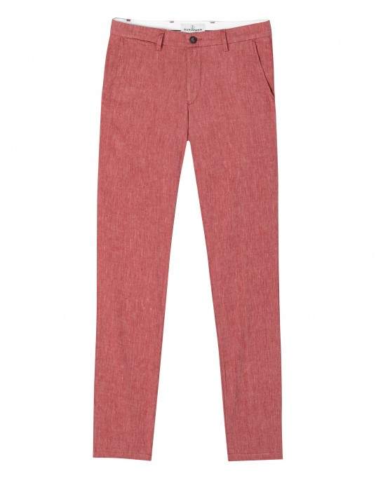 GORDON - Pantalon regular lin chiné rouge