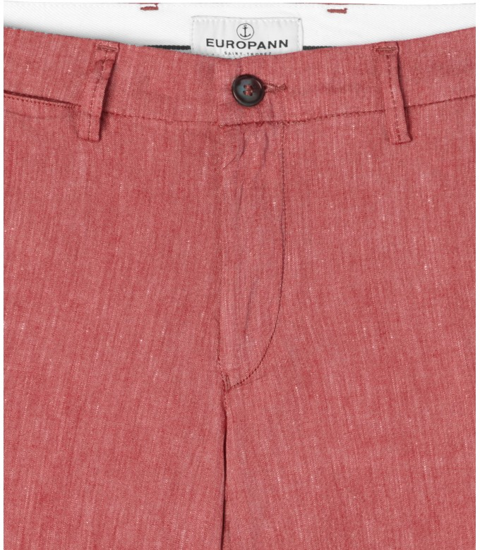 GORDON -  Red linen chino pant