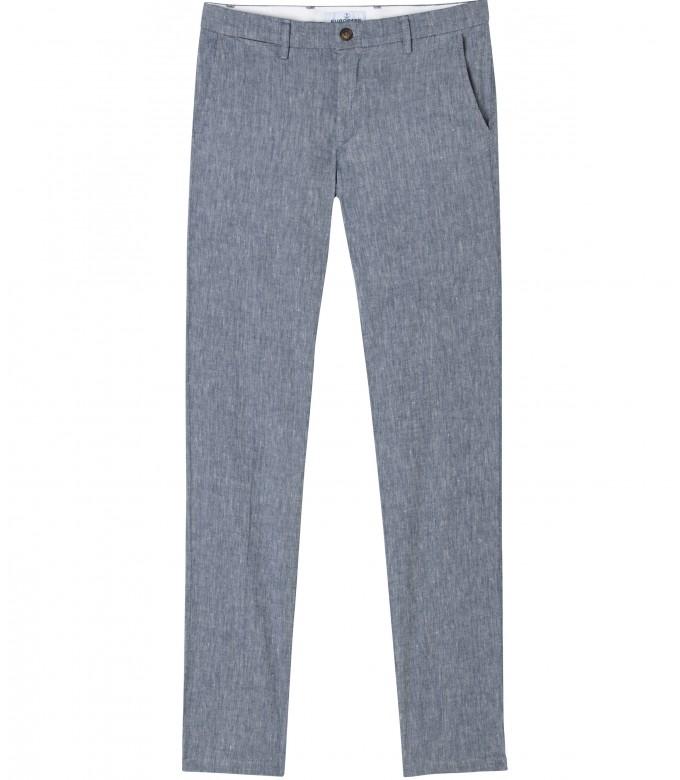 GORDON - Pantalon chino slim fit lin chiné, marine