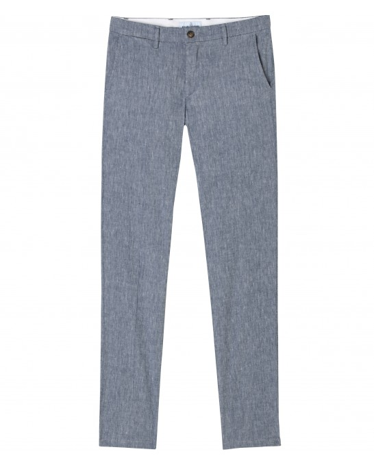 LINEN CHINO PANTS GORDON NAVY