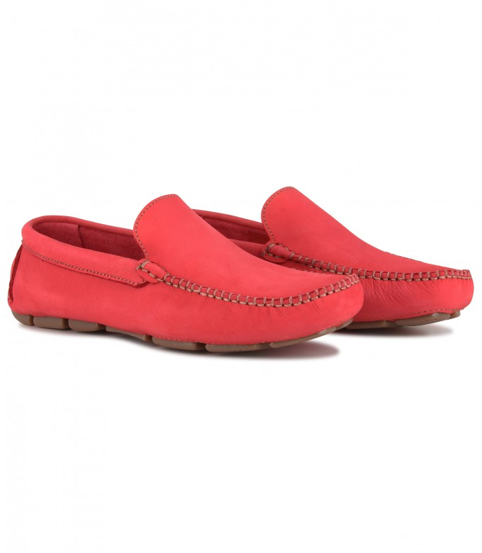 MONZA - Red nubuck loafers