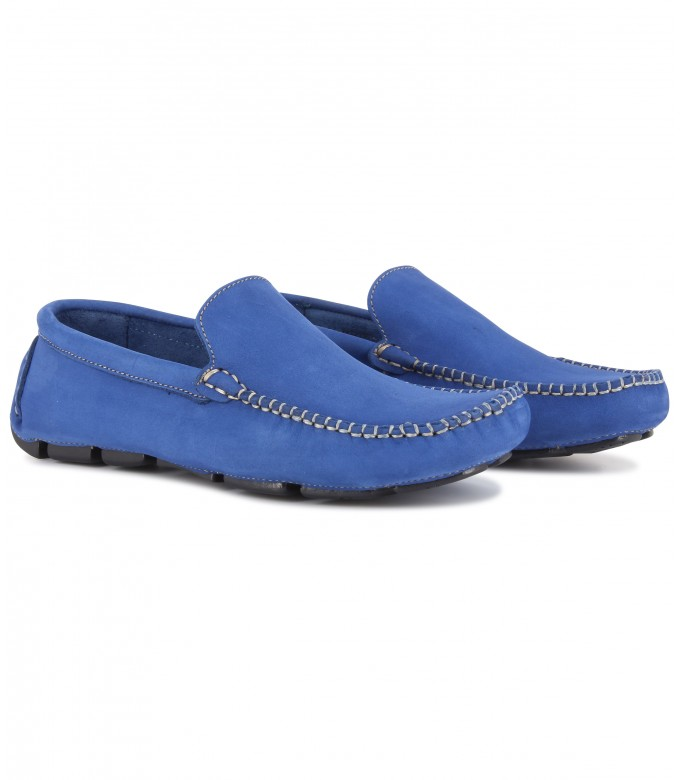MONZA - Mocassin en nubuck, bleu royal