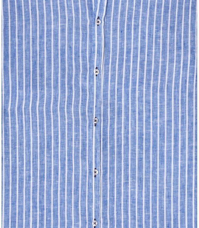 TENNIS - Chemise coupe classique en lin à rayures bleu