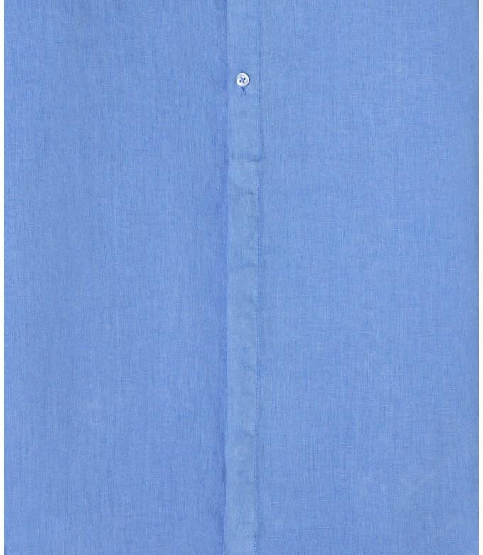 STAN - Linen decontract shirt Mao collar, ocean blue