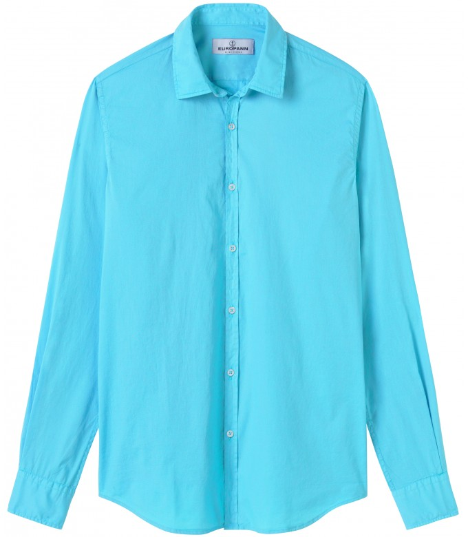 VARDY - Casual cotton-voile shirt, turquoise