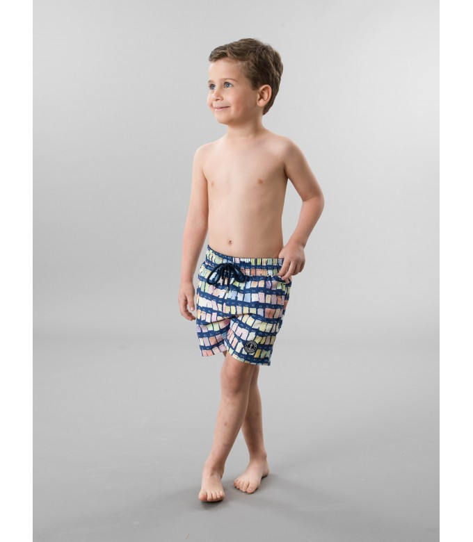 BORNEO JUNIOR - Pantone printed swim shorts, blue navy