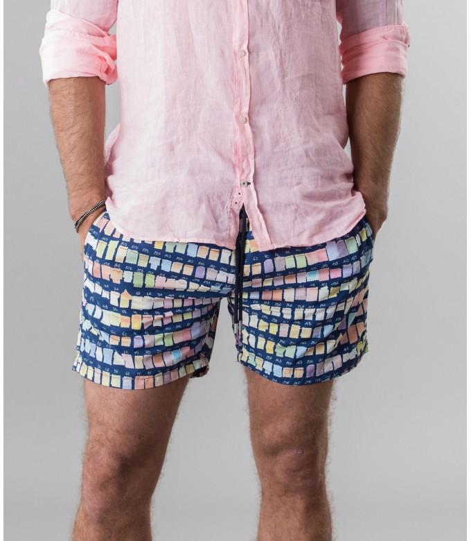 BORNEO- Short de bain imprimé pantone, marine