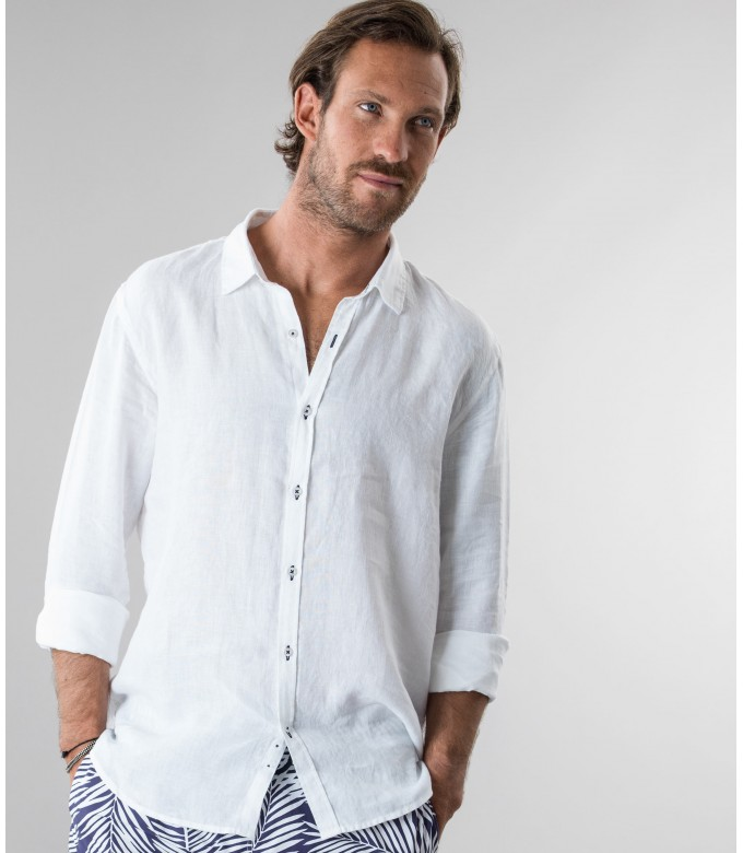 JONAS - Plain white linen shirt