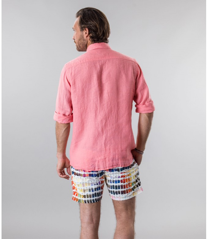 DIVA - Casual linen shirt, fuchsia