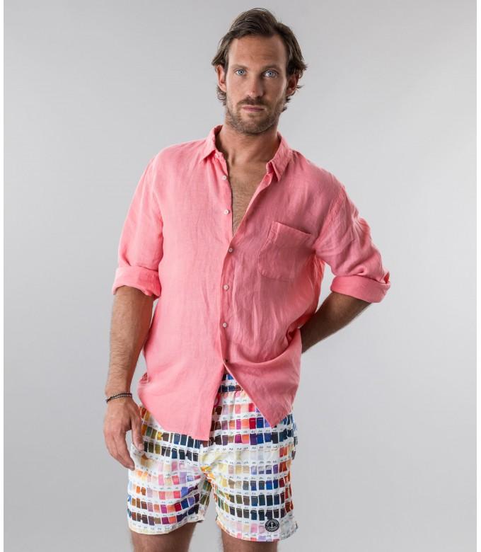 DIVA - Plain linen shirt fushia pink