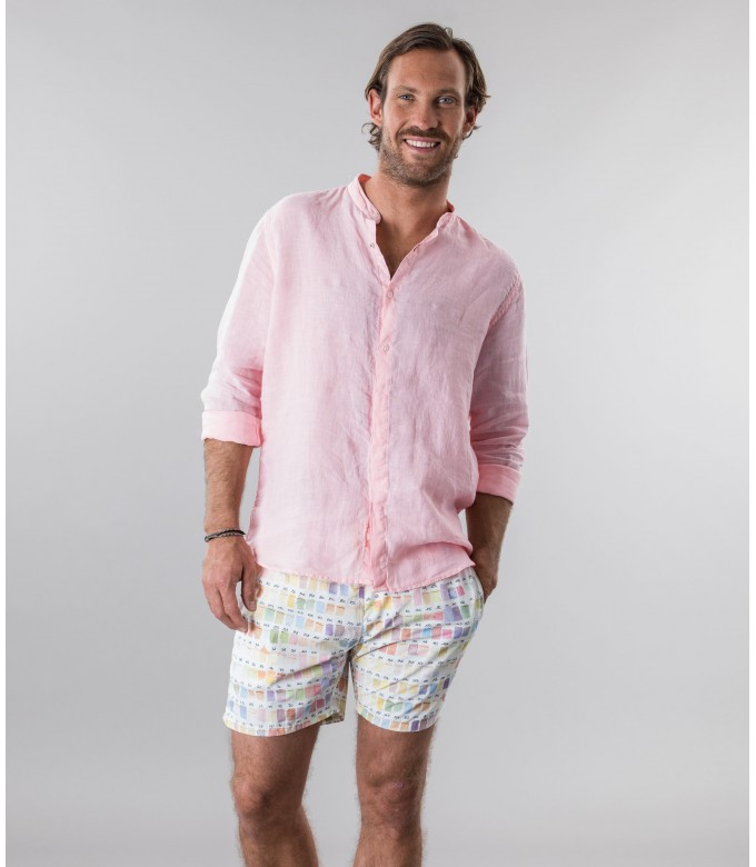 STAN - Plain linen shirt with mao collar pink