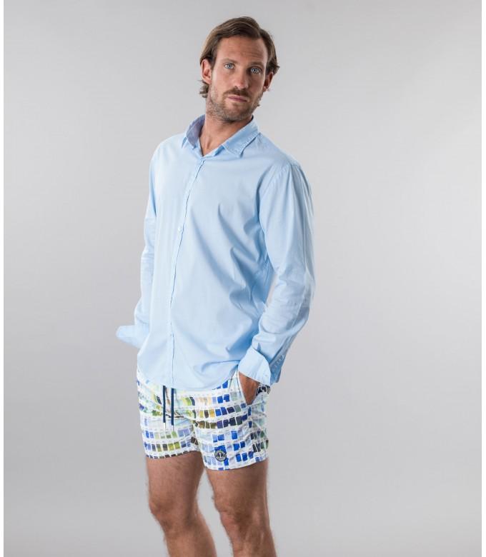 VARDY - Casual cotton-voile shirt, light blue