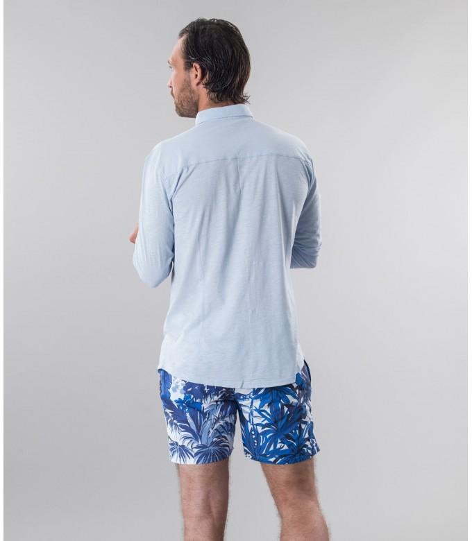 STUART - Thin jersey cotton shirt, light blue