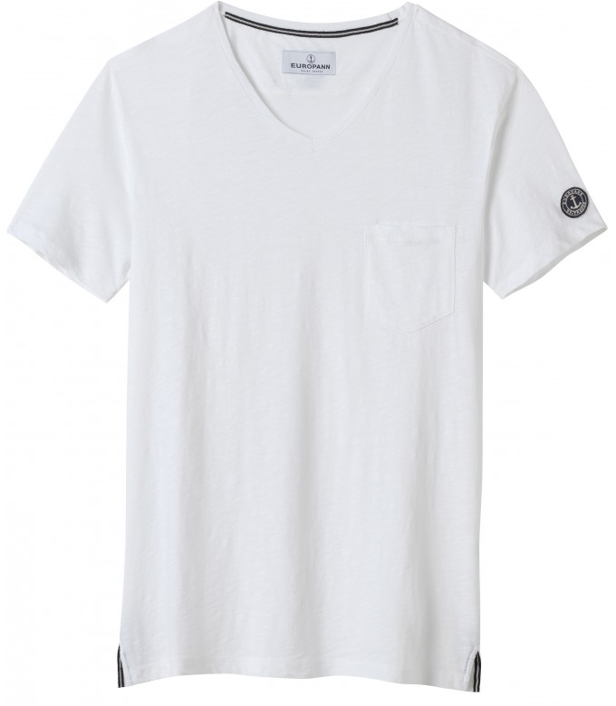 NECK - Cotton V-neck tee-shirt, white
