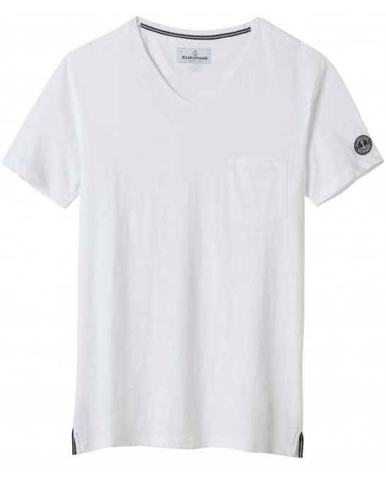 COTTON V NECK T-SHIRT NECK WHITE
