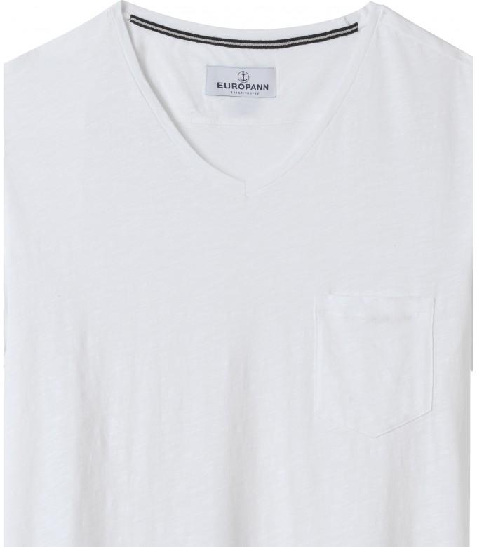 NECK - Tee-shirt col V en coton, blanc