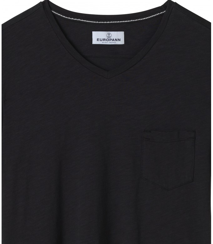 NECK - Cotton V-neck tee-shirt, black
