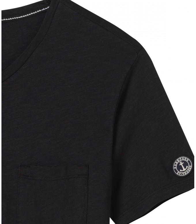 NECK - Tee-shirt col V en coton, noir